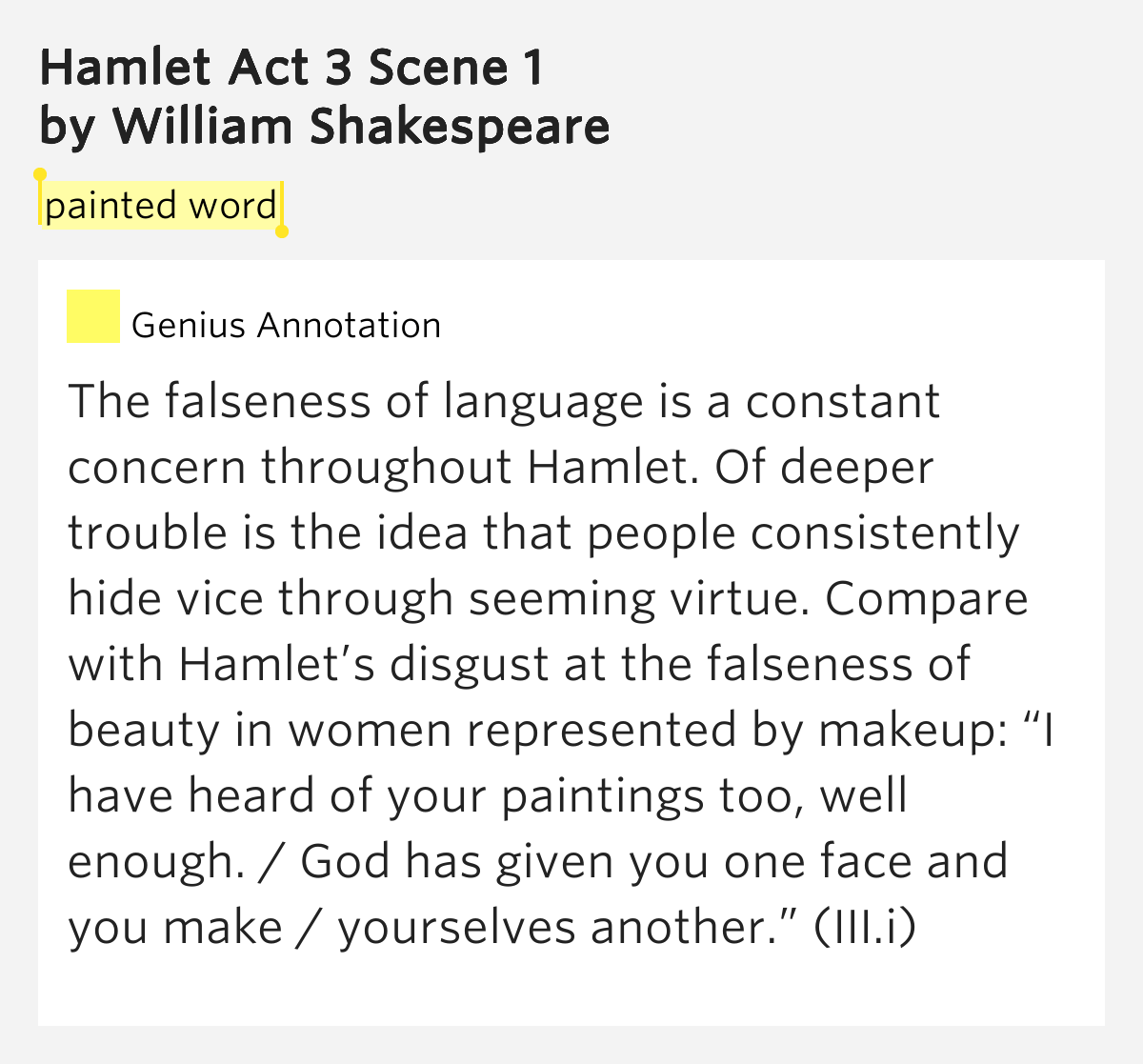 Painted Word Hamlet Act 3 Scene 1 By William Shakespeare