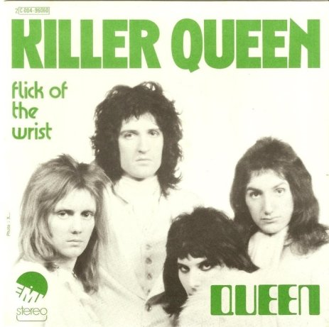 """""""Killer Queen"""" record cover with """"Flick of the Wrist"""" on B-side. (Image credits: genius)"""