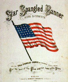 picture of american flag and national anthem