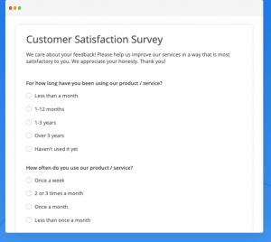 Customer survey form builder