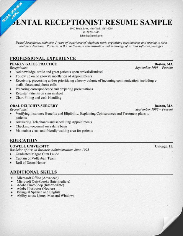 receptionist resume objective examples medical receptionist duties