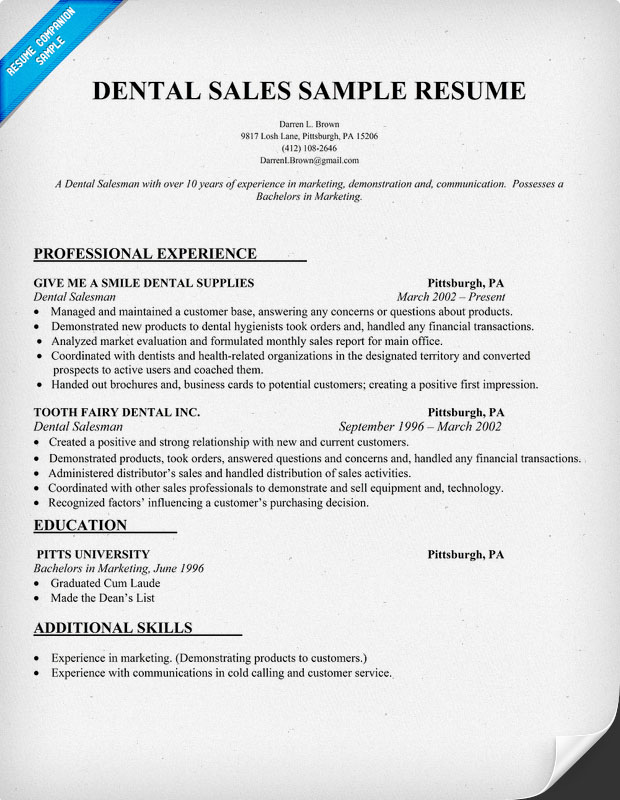 Dental Resume Sample. Certified Dental Assistant Resume Examples