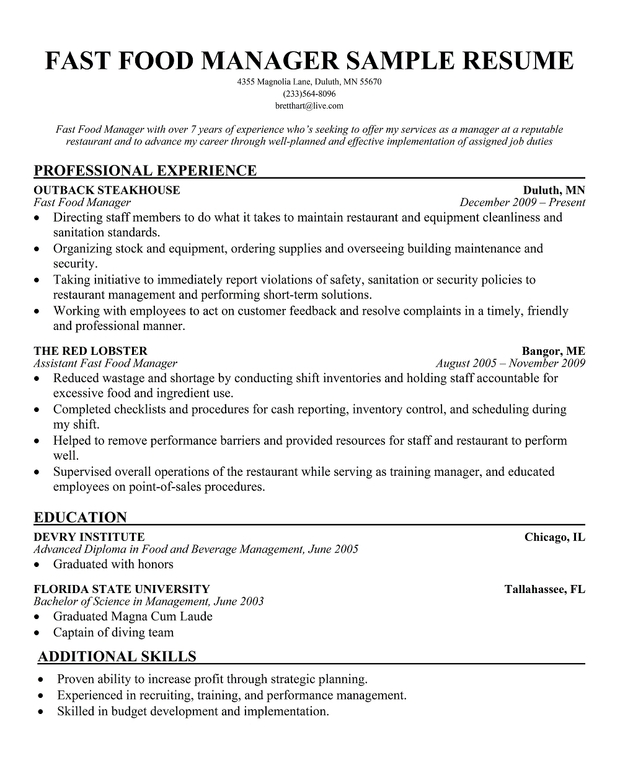 Fast Food Manager Sample Resume1 Large Cook Resume