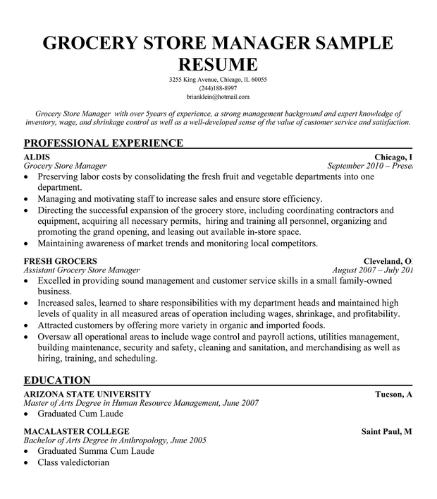 Grocery Store Resume Example. resume templates supermarket cashier ...