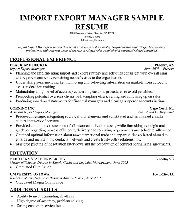 Import export coordinator google resume samples for Import resume into template