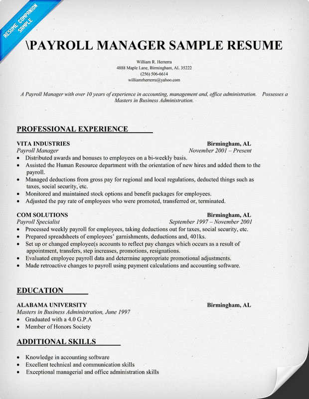 cover letter payroll manager