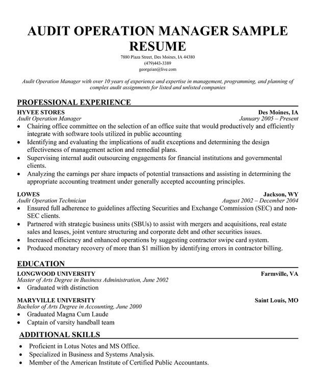cover letter auditor example