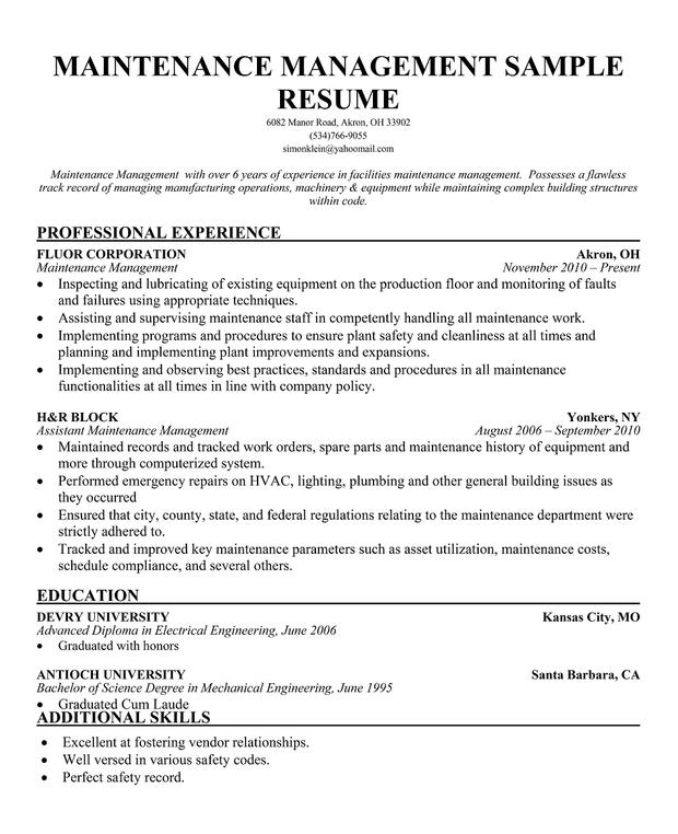 facility manager resume maintenance management resume