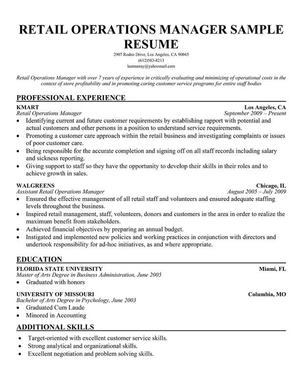 Resume Retail Manager Sample. Retail Manager Sample Resume