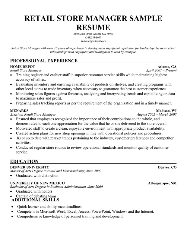 Resume Retail Manager. Store Manager Resume Sample My Perfect