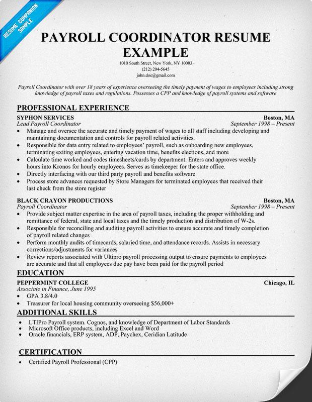payroll coordinator sample