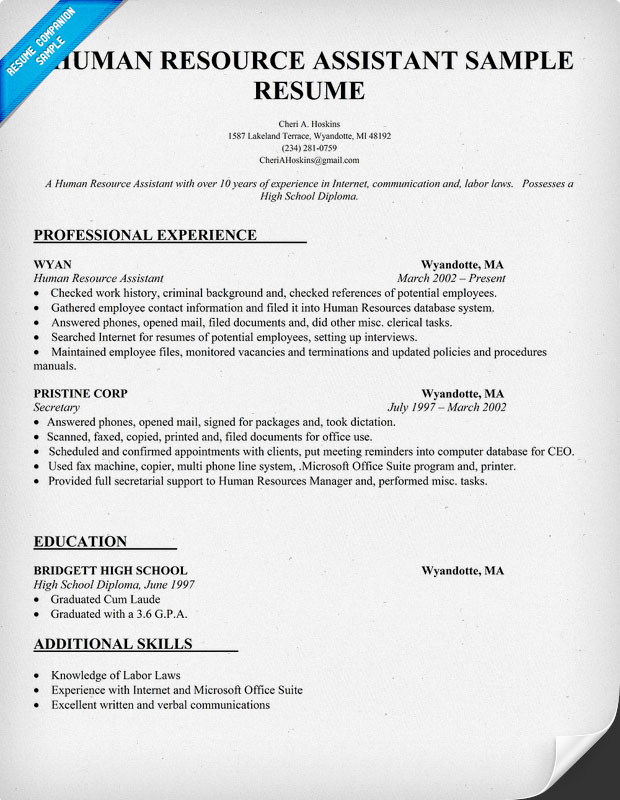 Human Resources Resume Summary Examples. human resources resumes ...