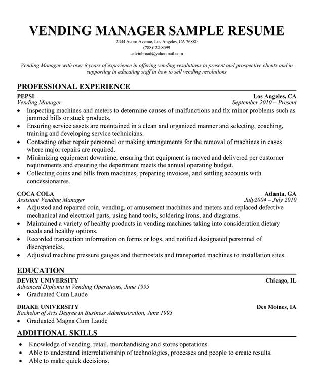 vending manager resume coaching resume samples firewatch resume resume