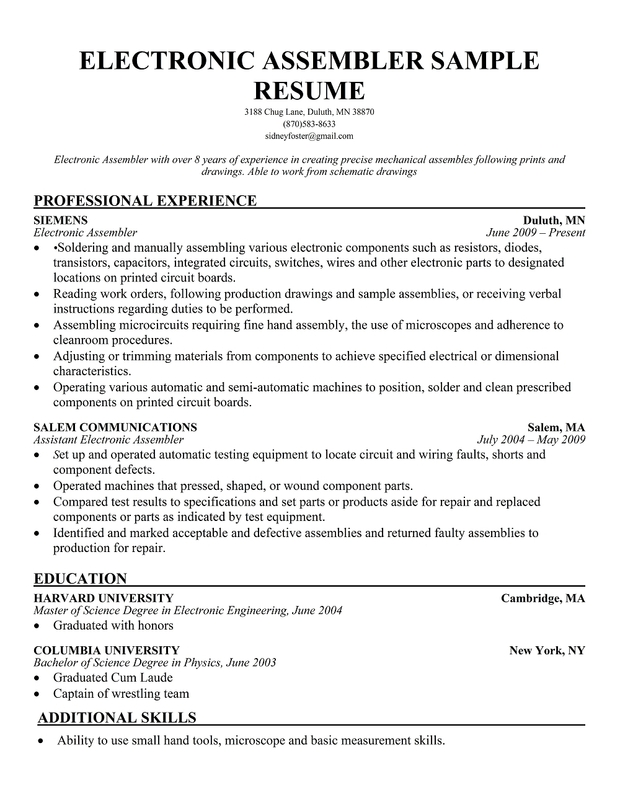 Line Worker Production Line Resume Templates Production Line ...