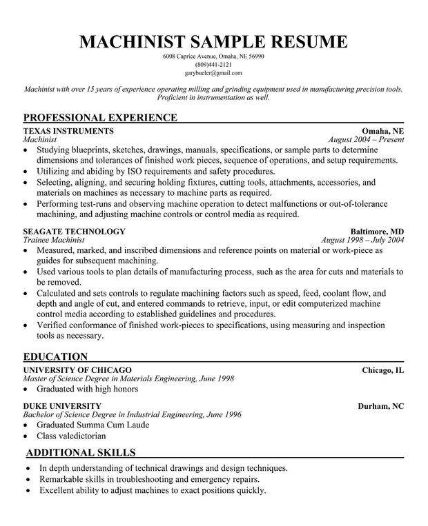 cnc operator resume format cdl resume objective resume x