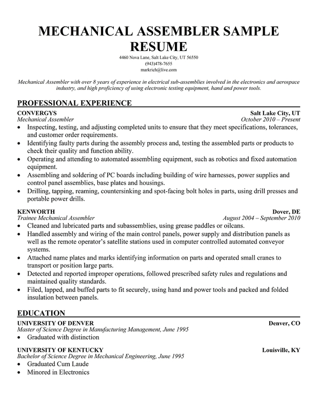 Mechanical Assembler Resume Examples | Resume Examples 2017