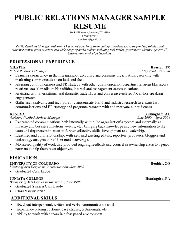 Entry Level Public Relations Resume Objective Examples. Resume