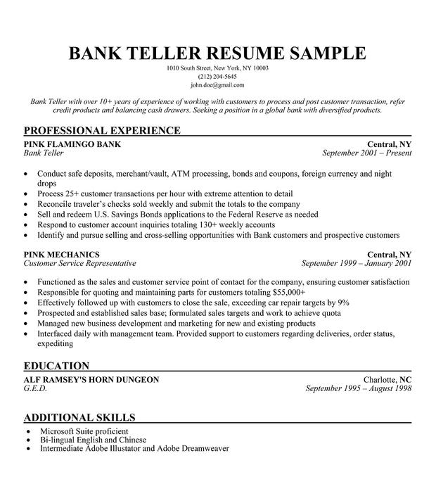 Teller Resume Job Description. الغذائية Bank Cover Letter No