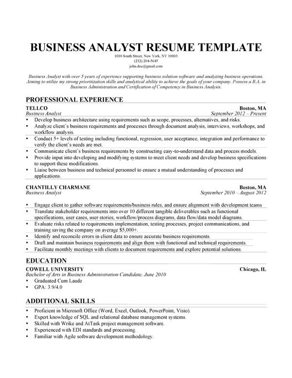 how to write a business analyst resume ivysaur get resume today