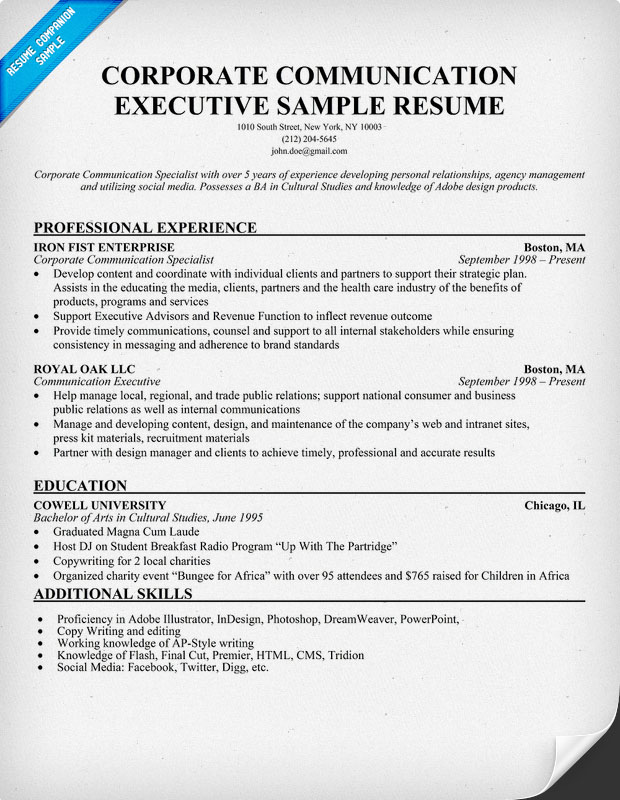 Corporate Communications Resume Examples. Corporate Communications