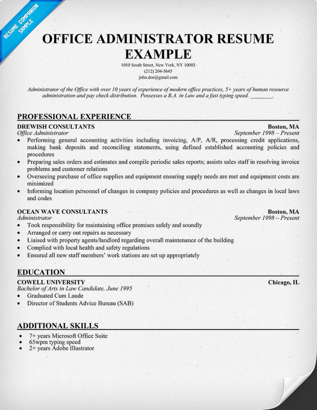 office administrator resume sample office administration resume examples of resumes for administrative positions