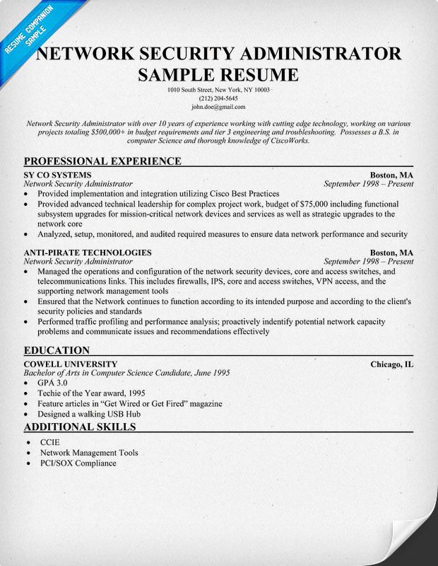 Network Security Resume Sample. security resume example and ...