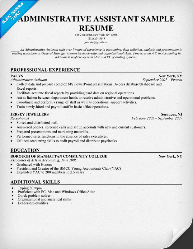 Admin Assistant Resume Example | Resume Format Download Pdf