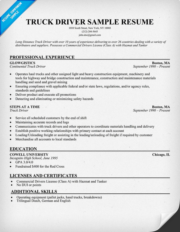 Cdl Driver Resume route driver resume sample resumecompanioncom Driver Resume Examples Driver Free Picture Resume Samples
