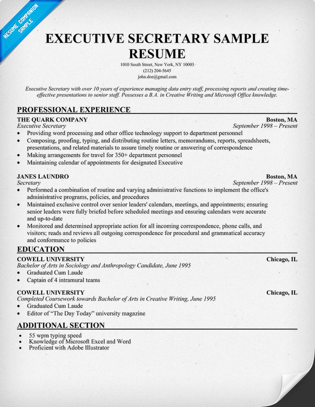 administrative secretary resume objective assistant resume sample
