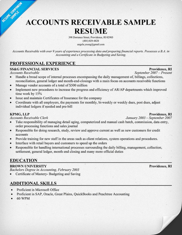 For resume Accounts Payable Accounts Receivable Job Description Resume