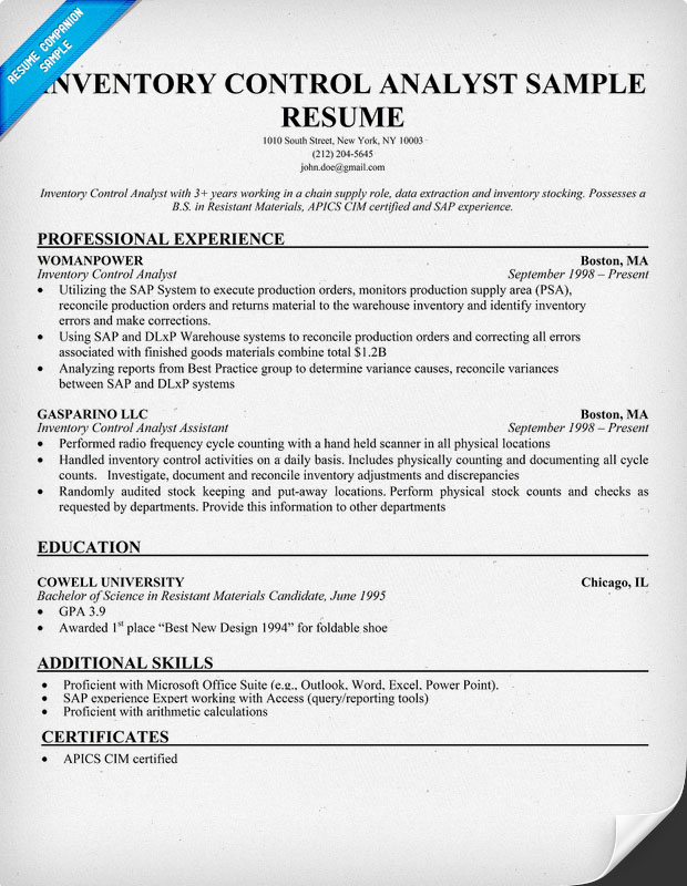 inventory controller resume