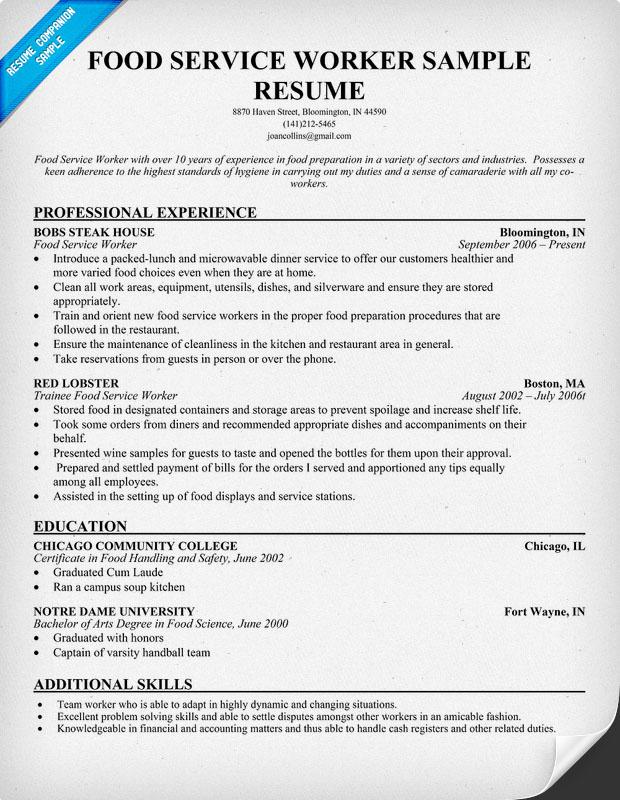 resume for food server job position resume florist resume sample