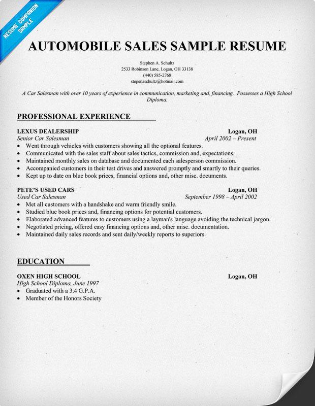 car salesman resume imeth co
