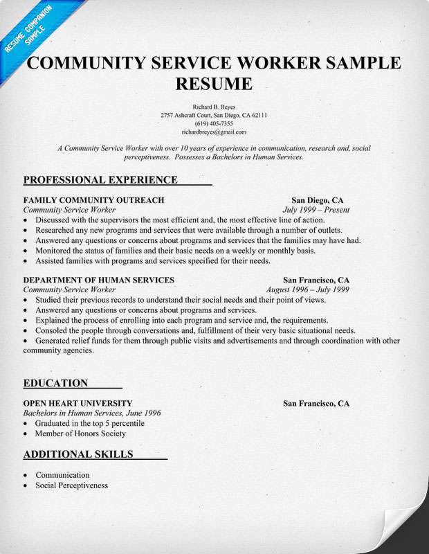 social and community service manager resume sample refon11915100