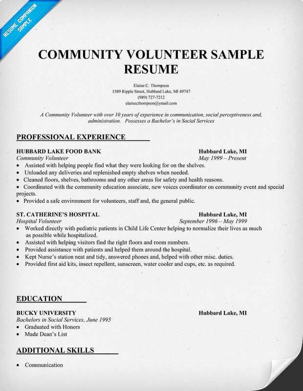 community service volunteer resume sample