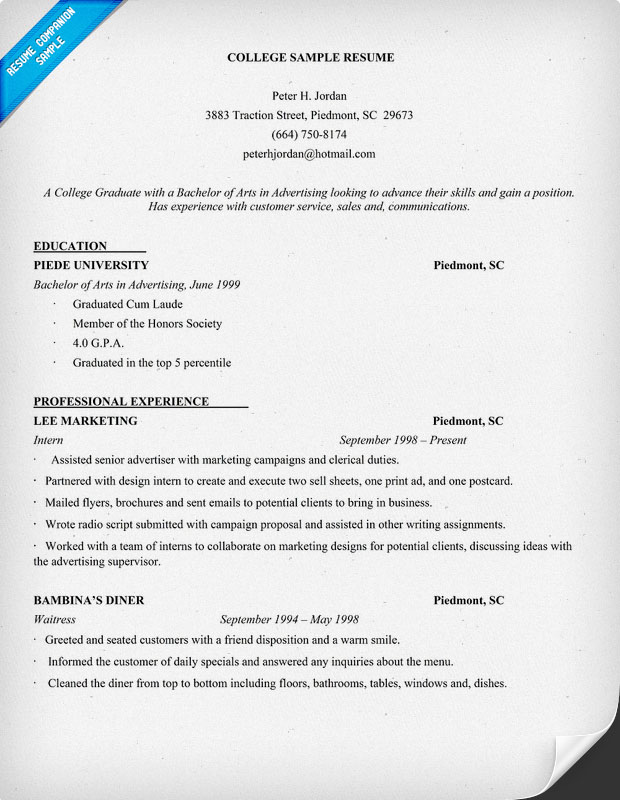 Resume Format Examples For College Students. Examples Of Resumes