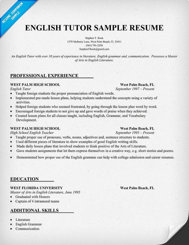 English Tutor Job Description Resume Cv Career Objective