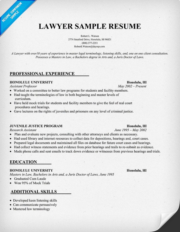 Lawyers Resume. resume sample associate attorney resume resume ...