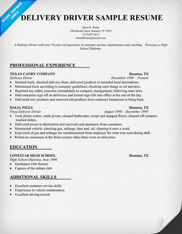 Sample Driver Resume. Truck Driver Resume Sample Pizza Delivery