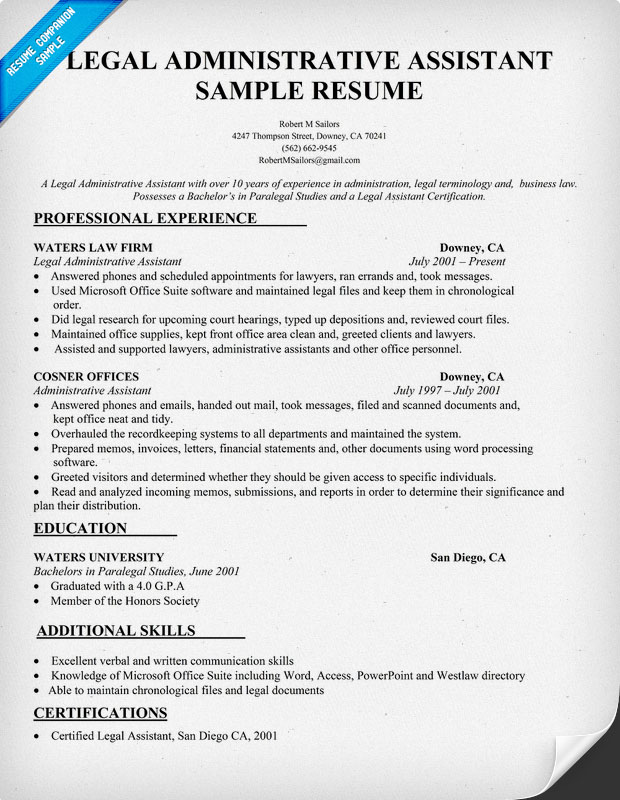 Resume Admin Assistant Sample. Office Example. Example Cover