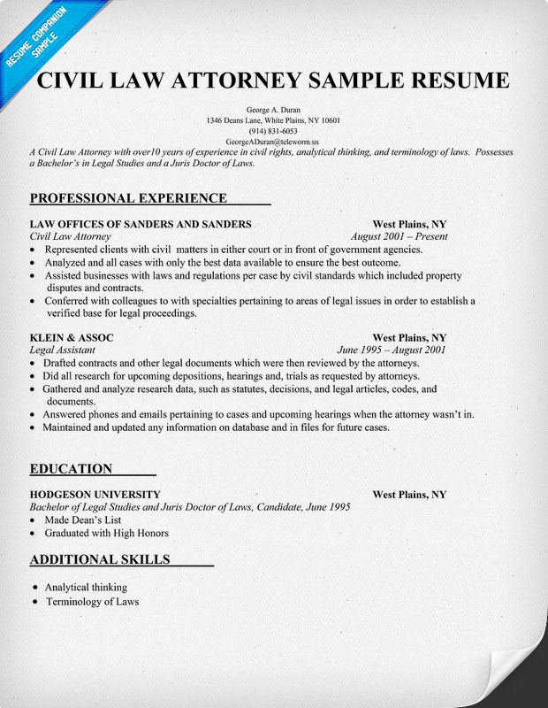 resume sample example legal resume attorney sample sample law