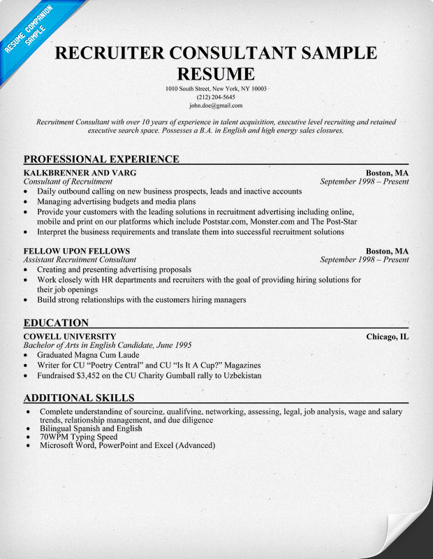 sample recruiter resume objective resume examples on objective