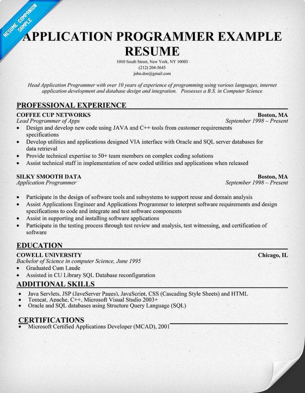 Programmer Resume Sample. Programmer Resume Example Computer