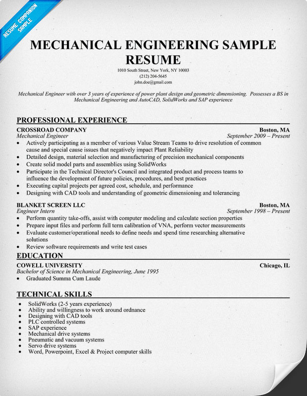 graduate mechanical engineer resume samples template engineering resume examples for students