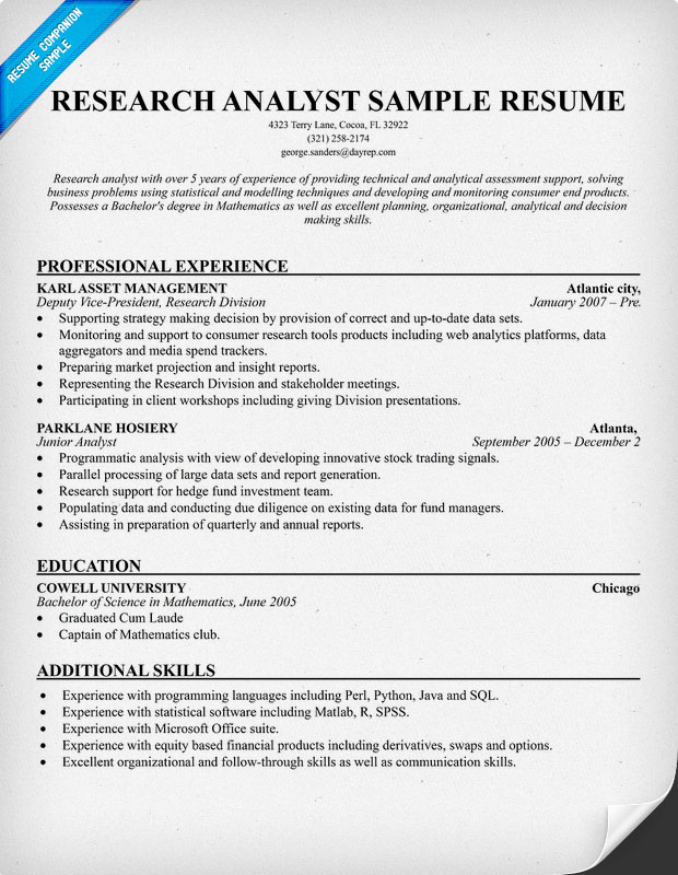 market re analyst resume sample research assistant resume