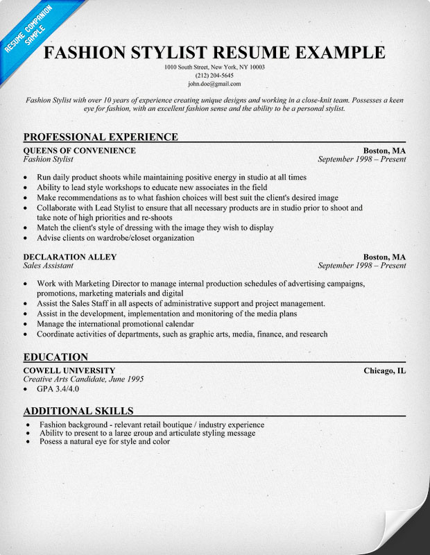 fashion stylist resume document templates online