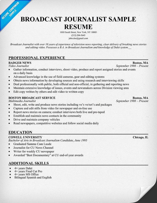 News Anchor Job Resume. Tv Reporter Resume Tv Free Picture Resume
