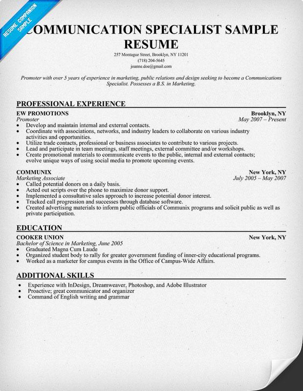 Internal communications resume sample