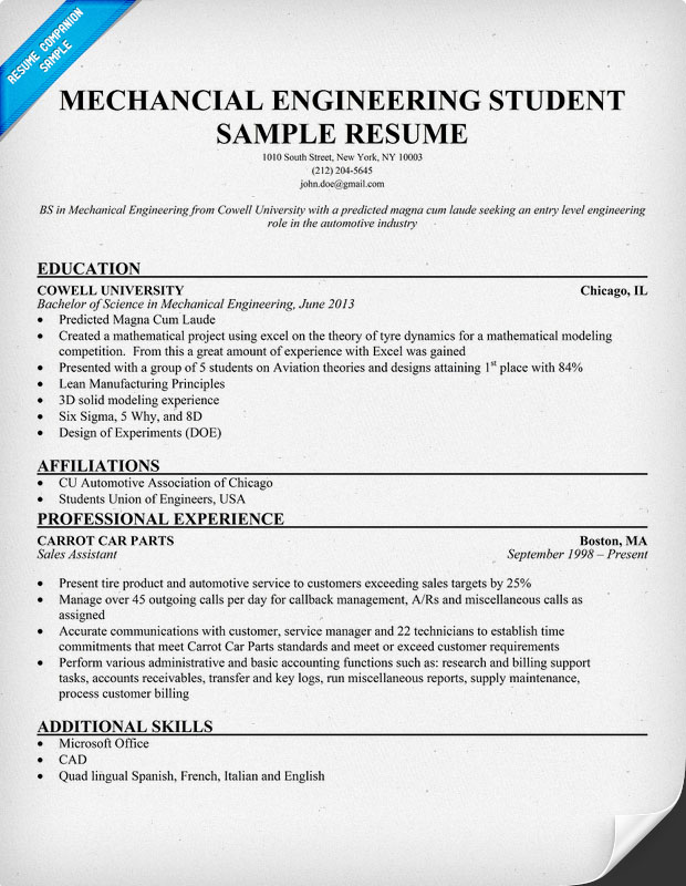 resume for engineering students template