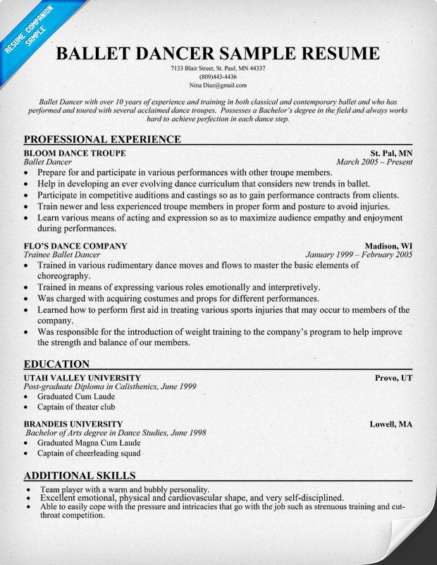 http resumecompanion com ballet dancer